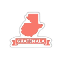Paper sticker on white background map guatemala vector