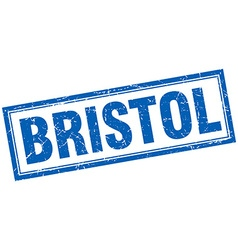 Bristol blue square grunge stamp on white vector