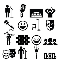 Stand up comedy entertainment people laughing vector