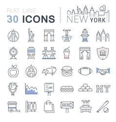 Set Flat Line Icons New York and USA vector image