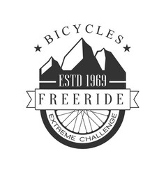 Bicycles freeride extreme challenge vintage label vector