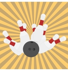 Bowling ball and pins - vector image