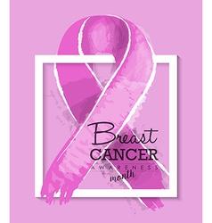 Breast cancer awareness ribbon design vector image vector image