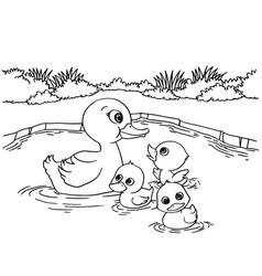 Cartoon duck lake coloring page vector