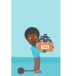 Chained businessman with bags full of taxes vector