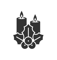Christmas candle with holly berry vector