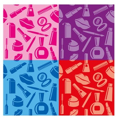 cosmetic seamless patterns vector image vector image