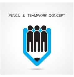 Creative pencil and people icon abstract logo desi vector