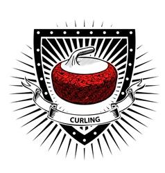 curling shield vector image vector image