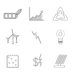 energy and electricity linear icons vector image vector image