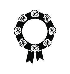 Funeral wreath black icon vector