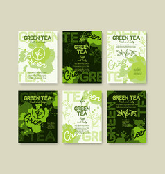 Green tea poster or banners typography design vector