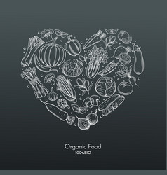 Heart composition with hand drawn vegetables vector