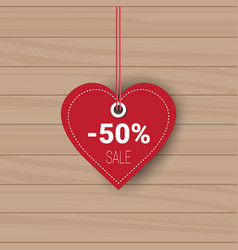 heart shaped sale tag holiday shopping for vector image vector image
