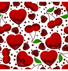 Hearts and cherry in chocolate seamless pattern vector