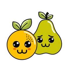 kawaii happy and sad orange and pear icon vector image vector image