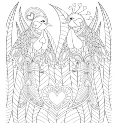Lovely couple of exotic bird sitting on heart in vector