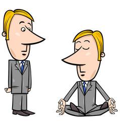 Meditating businessman cartoon vector