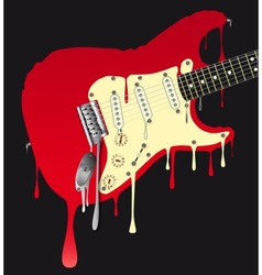 Melting Electric Guitar vector image vector image