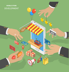 mobile store development flat isometric low poly vector image vector image