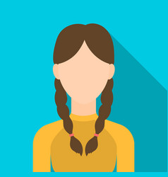 Pigtails icon flat single avatarpeaople icon vector