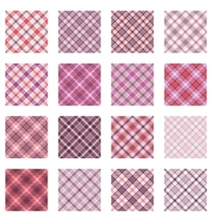 Plaid patterns collection pink shades vector image vector image