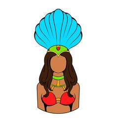 samba girl icon cartoon vector image