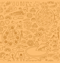 seamless pattern of hand drawn pizza vector image