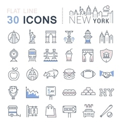 Set Flat Line Icons New York and USA vector image vector image
