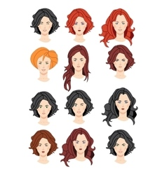 Set of beautiful women portraits vector image vector image