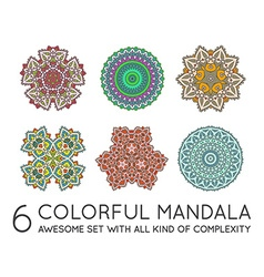 Set of Ethnic Fractal Mandala Meditation looks vector image