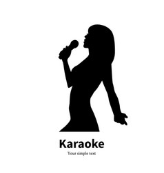 Silhouette singing girl with a microphone vector