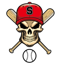 Skull wear a baseball hat vector