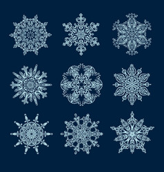 Snowflakes and mandala collection vector