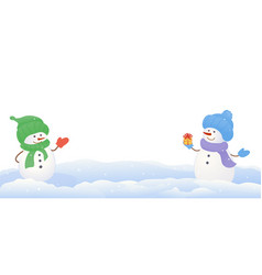 snowmen on white background vector image vector image