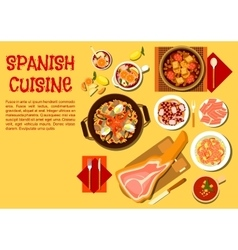 Spanish seafood and meat dishes flat icon vector