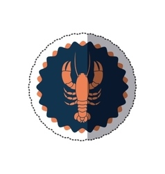 Sticker stamp border with silhouette lobster vector