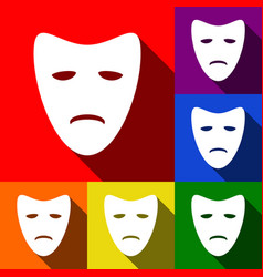 Tragedy theatrical masks set of icons vector