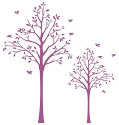 Tree with birds wall decal vector