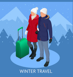 trip on a winter vacation in the mountains winter vector image