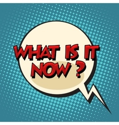 What is it now retro comic bubble text vector