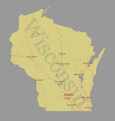 Wisconsin accurate exact detailed state map vector