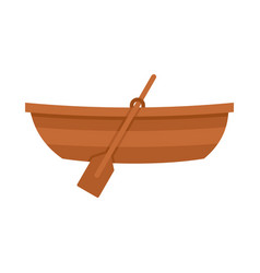 Wooden boat icon flat style vector