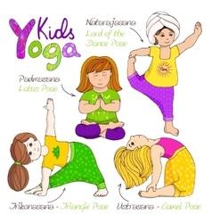 Yoga kids set vector