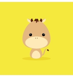 Cute cartoon wild horse vector