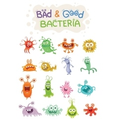 Good bacteria and bad bacteria cartoon characters vector