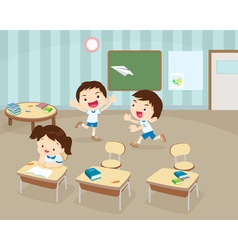 Students playing in classroom vector