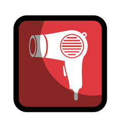 Square button hairdryer utensil hairstyle vector