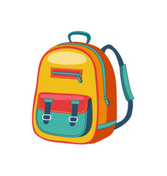 Yellow and blue schoolkid backpack set of school vector