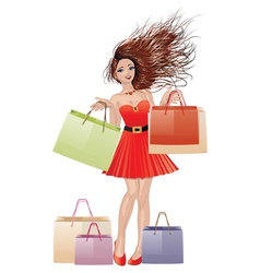 Girl in red with shopping bags vector